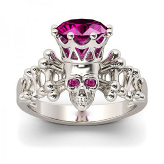 1.2CT Rose Red Sapphire 925 Silver Woman Wedding Engagement Ring Size 6-10