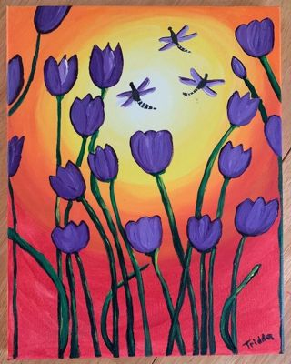 "Dragonfly Tulip Handpainted By Me 11X14"" Canvas Art"