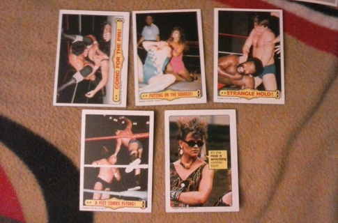 lot of 5 1985 topps wwf cards