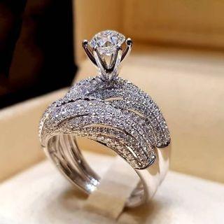 SAPPHIRE wedding ring set new Sz 5-11