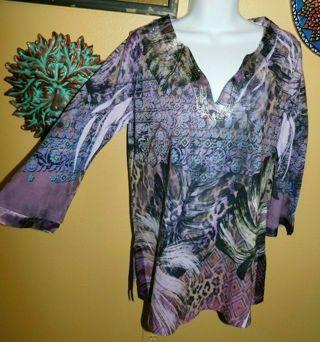 Beautiful Tunic Gypsy Inspired V Neck Top Shirt By B.L.E.U -Size M