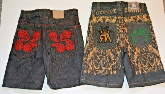 Lot of 2 Red Ape Boys Size 2 Blue Jean Shorts Red Gold PreOwned