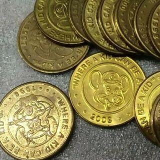 12 Vintage CHUCKY E CHEESE Token Golden Coins