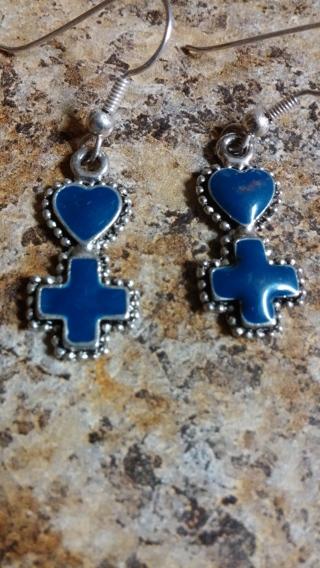Blue Heart and Cross Fish Hook Earrings