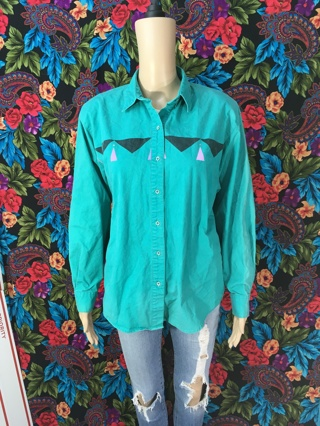 VINTAGE WRANGLER WESTERN WEAR SHIRT BUTTON UP TOP