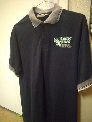 North texas men's navy collar shirt