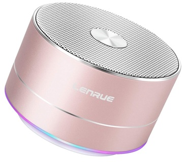 NEW! A2 LENRUE Portable Wireless Bluetooth Speaker! Lots of Features! Rose Gold!