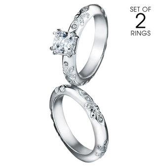 2 piece silvertone CZ engagement ring set