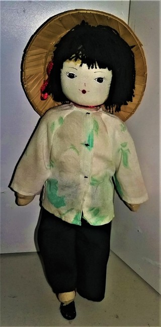 """Vietnamese stuffed doll - arms & legs can be moved manually - 8 1/2"""" tall - VG condition"""