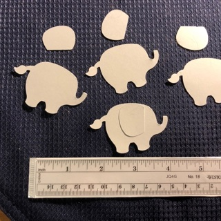 Hand punched dimensional elephants with ear - quantity 10 in grey card-stock
