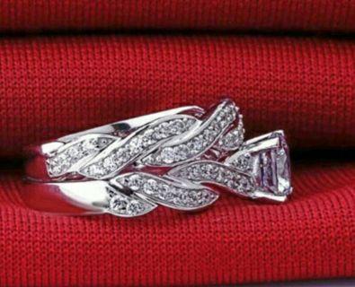 Size 6, 925 sterling silver Topaz Round Cut Women Wedding Set