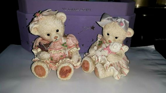 2 Hope & Cherish Limited Ed. PROMISE BEAR Figurines #-Stamped **Adorable!!**