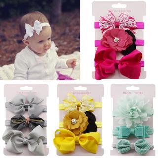 Wholesale 3Pcs Kids baby girl headband soft Elastic Floral Headband Girls baby Bowknot Hairband Se