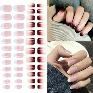 Full Cover False Nails 24Pcs Artificial Fake Nails Short Natural Tips w/ 2g Glue