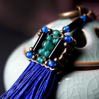 Vintage Jewelry Ethnic Blue Tassel Fringe Earrings