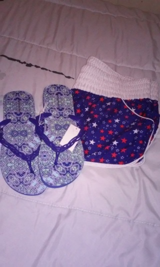 Stars  XL swim shorts & Flip Flops 9/10