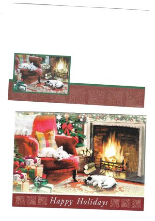 Christmas Card Unused With Envelope Doggies Sleeping By the Fire