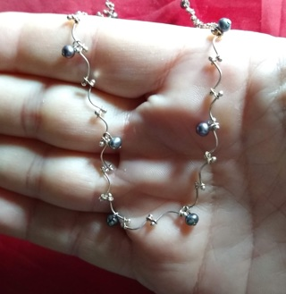 NECKLACE STERLING SILVER AND BLACK NATURAL PEARLS JUST BEAUTIFUL 19 INCHES LONG WITH EXTENSION WOW!