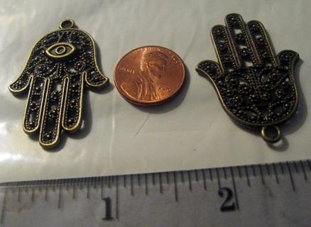 1 Large Hand Hamsa Pendant ~ Bronze