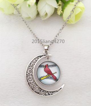 baseball St .Louis Cardinals/Glass Hollow Moon Shape Silver Pendant