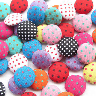 [GIN FOR FREE SHIPPING] 50Pcs Polka Dot Flatback Fabric Covered Button Scrapbooking