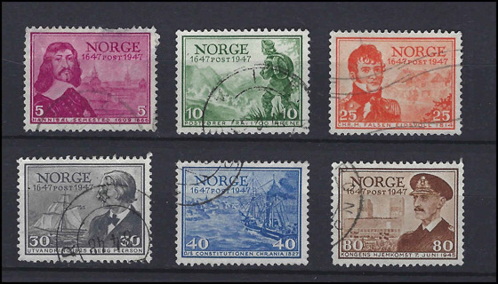 1947 Norway 300th Aniv Norwegian Post Office set (6 stamps), used VF-XF