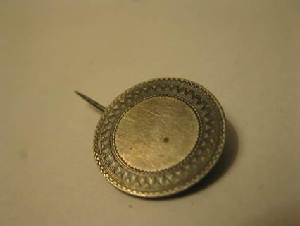 old vintage Silver US Dime w/ Polished Engraved Front for Monogram pin