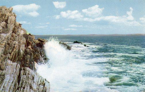 Vintage Used Postcard: Surf at Bailey Island, Maine