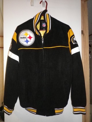 NFL 2015 PITTSBURGH STEELERS Suede Leather Jacket Black / Yellow