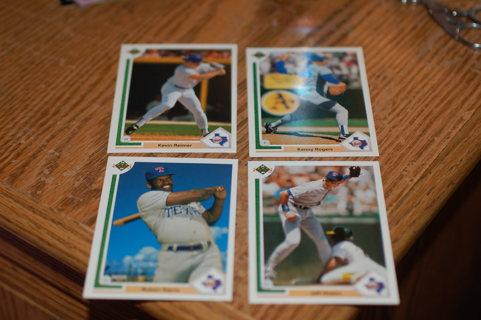Set of 4 Texas Rangers Baseball Cards, 1991 Upper Deck