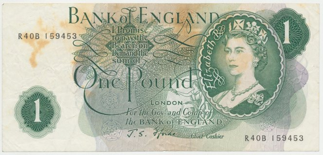 English 1 Pound Note (1966-70) Signature J. S. Fforde