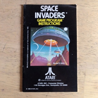 Space Invaders video game instruction manual for Atari 2600