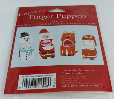 CHRISTMAS FINGER PUPPETS BRAND NEW SEALED IN PACKAGE YOU ASSEMBLE THEM 4 COUNT