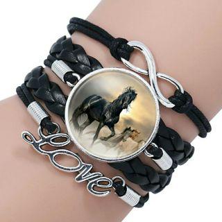 Fashion Horse Love Leather Infinity Wrap Bracelet Bangle