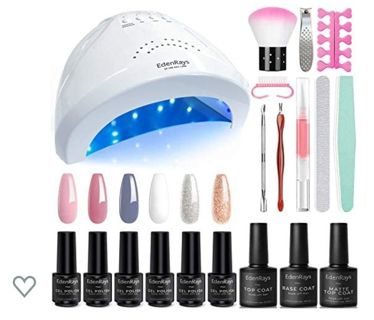 Gel Nail Polish Kit with UV Light 48W/24W, 6 Color & Platinum Gel with Related Tool Set