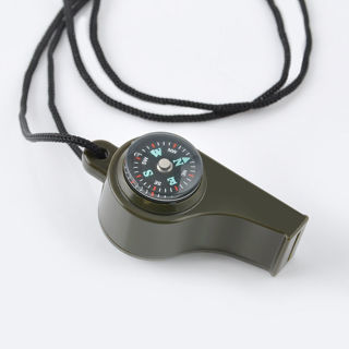 7 in 1 Camping Survival Whistle Compass Thermometer Flashlight Magnifier