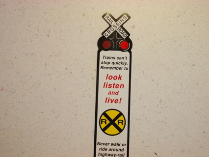 Railroad Crossing SAFETY Plastic Bookmark & Ruler
