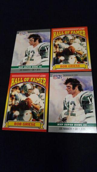 Bod Griese and Joe Namath cards.