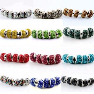 20PCs Silver MURANO GLASS BEAD LAMPWORK fit European Charm Bracelet