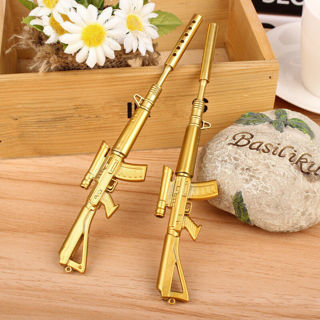 2Pcs Creative Stationery Gold Rifle Shape Design Black Ink Ballpoint Pen Writing Pens