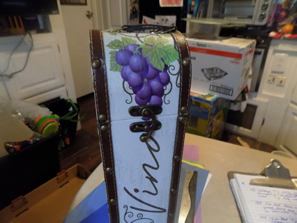 15 inch tall wooden wine bottle case holder  trimmed in leather & handpainted grapes