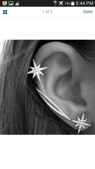 Fashion Women Punk Gothic Snowflake Rhinestone Clip Ear Cuff Wrap Stud Earrings