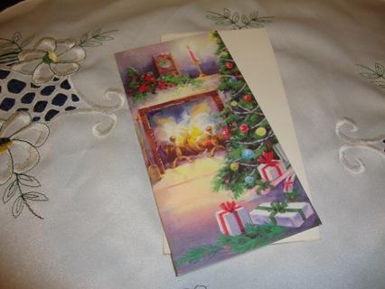 Vintage Christmas Card of Fireplace & Christmas Tree ~ Free Shipping