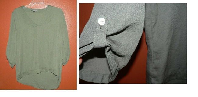 Gorgeous Roll Sleeve Light Dark Green Blouse Shirt Top Over-Size Small
