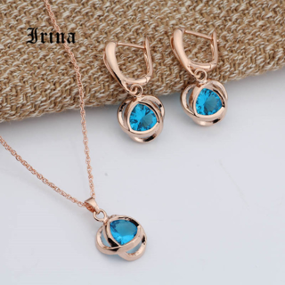 Charming Fashion Jewelry Set Women Yellow Gold Color Chain Necklace Earrings Set Zircons