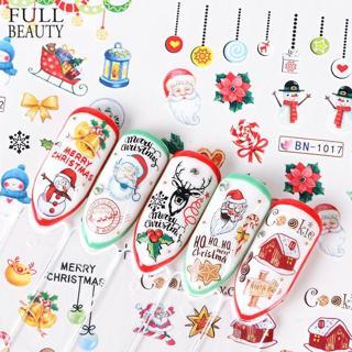12 designs Xmas New Year Gift Water Transfer Tips Nail Art Sticker Decals Christmas DIY Decor Mani