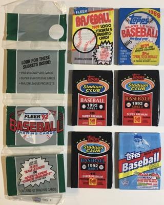 Vintage 1989-1992 Topps, Stadium Club, and Fleer New Sealed Baseball Card Packs Lot of 7!