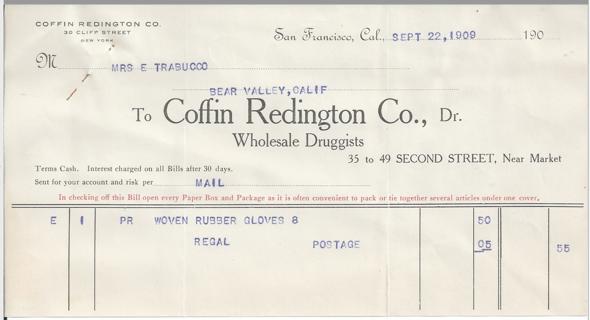 1909 Invoice Receipt for Woven Rubber Gloves Coffin Redington Wholesale Druggists San Francisco