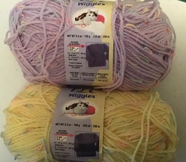 TLC wiggles yarn sport weight yellow & lilac 3.5oz & 250 yds each