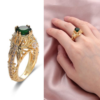 Gift Engagement Wedding Zircon Gemstone Emerald Ring 14k Gold Plated